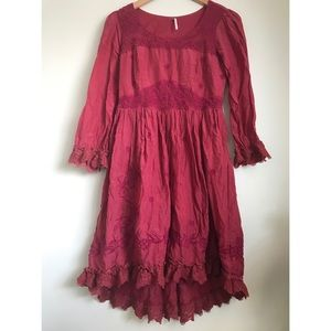 Free People Red and Pink Embroidered Dress